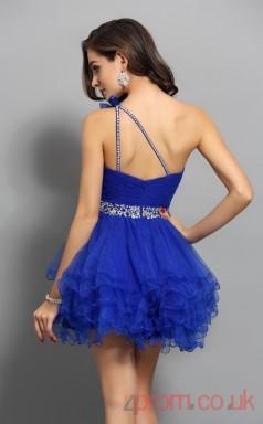 Blue Tulle A-line Mini One Shoulder Graduation Dress(JT2294)