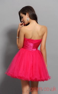 Deep Pink Tulle A-line Mini Strapless Graduation Dress(JT2297)