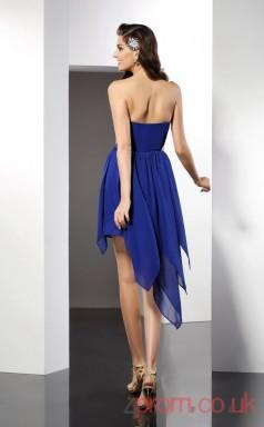 Royal Blue Chiffon A-line Mini Strapless Graduation Dress(JT2309)