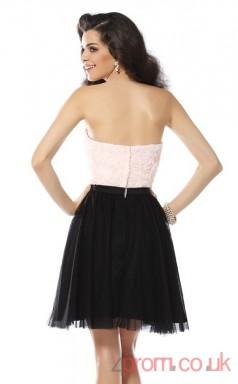Black Lace Tulle A-line Mini Strapless Graduation Dress(JT2314)