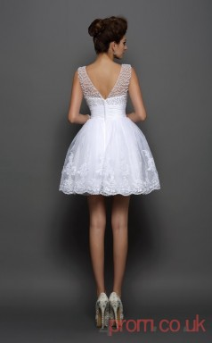White Tulle Lace A-line Mini Bateau Graduation Dress(JT2333)