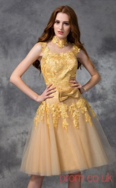 Gold Tulle Lace A-line Mini Illusion Graduation Dress(JT2336)