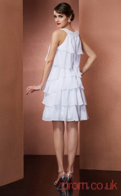 White Chiffon A-line Mini Halter Graduation Dress(JT2338)