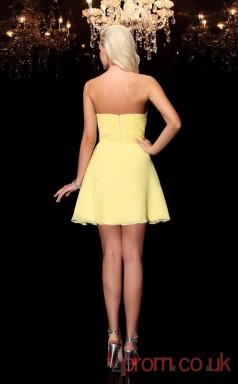 Yellow Chiffon A-line Mini Sweetheart Graduation Dress(JT2340)
