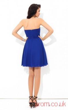 Blue Chiffon A-line Mini Sweetheart Graduation Dress(JT2341)