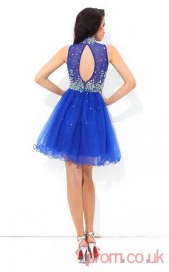 Ocean Blue Tulle A-line Mini High Neck Graduation Dress(JT2343)