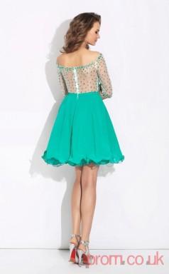 Dark Turquoise Chiffon Tulle A-line Mini Off The Shoulder Half Sleeve  Graduation Dress(JT2345)