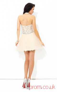 Pink Tulle A-line Mini Sweetheart Graduation Dress(JT2348)