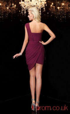 Grape Chiffon Sheath Mini Square Graduation Dress(JT2363)
