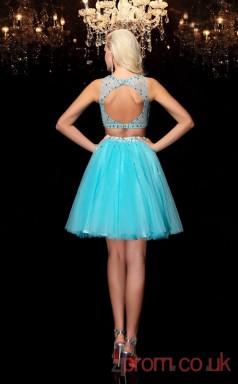 Deep Sky Blue Tulle A-line Mini Illusion Bateau Graduation Dress(JT2378)
