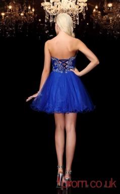 Royal Blue Tulle A-line Mini IllusionTwo Piece  Graduation Dress(JT2379)