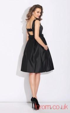 Black Satin A-line Mini Bateau Graduation Dress(JT2381)