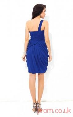 Blue Chiffon A-line Mini One Shoulder Graduation Dress(JT2385)