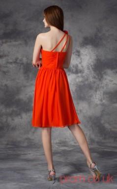 Dark Orange Chiffon A-line Mini One Shoulder Graduation Dress(JT2388)