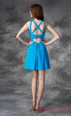 Ocean Blue Chiffon A-line Mini V-neck Graduation Dress(JT2390)