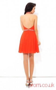 Dark Orange Chiffon A-line Mini Halter Graduation Dress(JT2391)