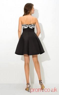 Black Satin A-line Mini Strapless Graduation Dress(JT2395)