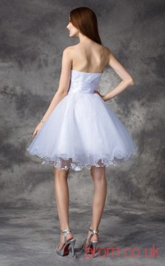 White Tulle A-line Mini Sweetheart Graduation Dress(JT2403)