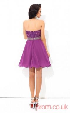 Purple Lace Chiffon A-line Mini Sweetheart Graduation Dress(JT2405)