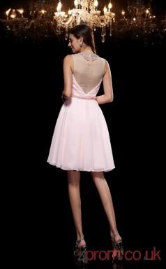 Blushing Pink Chiffon A-line Mini Illusion Graduation Dress(JT2409)