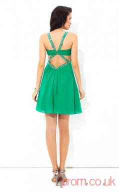 Green Chiffon A-line Mini V-neck Graduation Dress(JT2414)