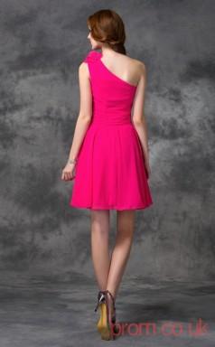 Fuchisa Chiffon A-line Mini One Shoulder Graduation Dress(JT2417)
