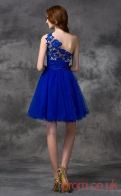 Blue Tulle A-line Mini One Shoulder Graduation Dress(JT2420)