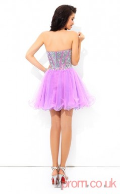 Lilac Tulle A-line Mini Sweetheart Graduation Dress(JT2435)