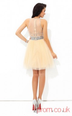 Light Champange Tulle A-line Mini Illusion Graduation Dress(JT2436)