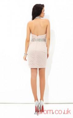 Pink Lace Sheath Mini Halter Graduation Dress(JT2445)