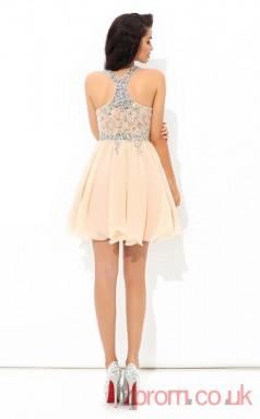 Pink Chiffon A-line Mini Halter Graduation Dress(JT2447)