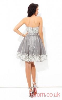 Silver Organza Lace A-line Mini Sweetheart Graduation Dress(JT2452)