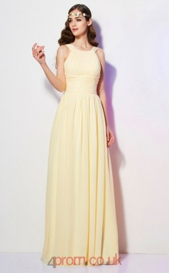 Yellow Chiffon A-line Straps Floor-length Formal Prom Dress(JT2460)