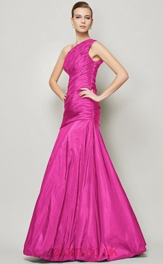 Black Taffeta Trumpet/Mermaid One Shoulder Floor-length Formal Prom Dress(JT2461)
