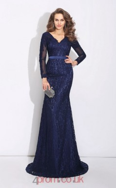 Navy Blue Lace Trumpet/Mermaid Long Sleeve V-neck Floor-length Evening Dress(JT2467)