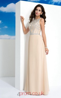 Champagne Satin Chiffon A-line Scoop Floor-length Evening Dress(JT2469)
