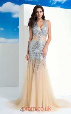 Champagne Tulle , Sequined Trumpet/Mermaid V-neck Sweep Train Evening Dress(JT2489)