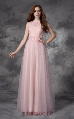 Candy Pink Tulle A-line Jewel Floor-length Evening Dress(JT2495)