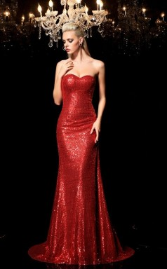 Light Burgundy Sequined Trumpet/Mermaid Sweetheart Sweep Train Formal Prom Dress(JT2498)