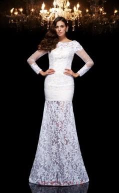 White Lace Bateau Long Sleeve Floor-length Mermaid Evening Dress(JT2501)