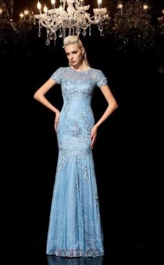 Sky Blue Lace Illusion Short Sleeve Floor-length Trumpet Evening Dress(JT2502)