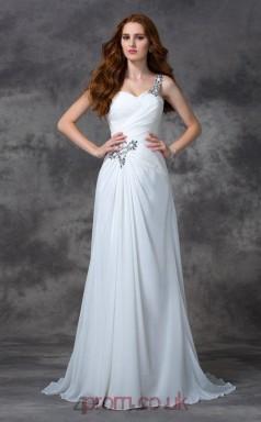 Ivory Chiffon Straps Sweep Train Mermaid Wedding Formal Dress(JT2513)