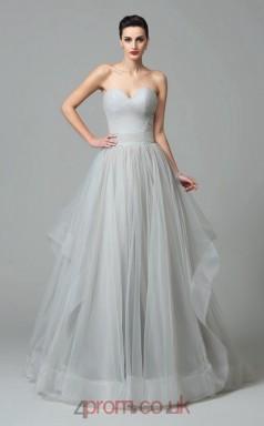 Gray Tulle Sweetheart Floor-length A-line Wedding Formal Dress(JT2549)