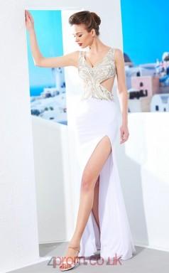 Side Split White Chiffon Halter Floor-length Mermaid Prom Dress(JT2584)
