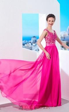 Fuchsia Chiffon Lace Halter Short Sleeve Floor-length A-line Wedding Formal Dress(JT2589)