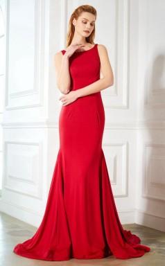 Red Charmeuse Scoop Sweep Train Mermaid Wedding Formal Dress(JT2593)