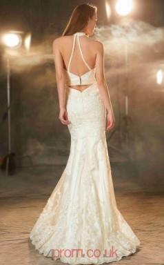 Trumpet/Mermaid Lace Beige Halter Floor-length Formal Prom Dress(JT2604)