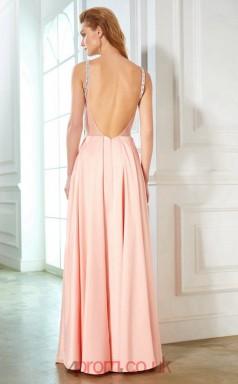 A-line Satin Chiffon Blushing Pink Straps Floor-length Evening Dress(JT2607)