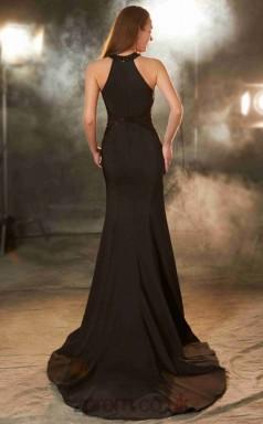 Trumpet/Mermaid Chiffon Dark Brown Halter Long Formal Prom Dress with Split Side(JT2610)
