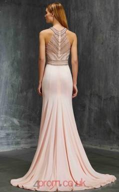 Trumpet/Mermaid Chiffon Pearl Pink Halter Long Evening Dress(JT2612)